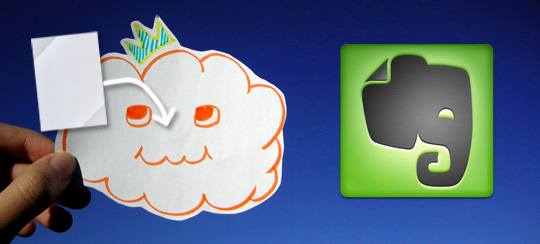 A picture of a note going into a cloud with an Evernote logo