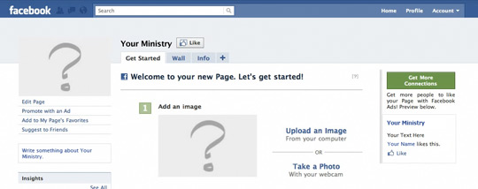 """A screen shot of a fresh, blank Facebook page for """"Your Ministry"""""""