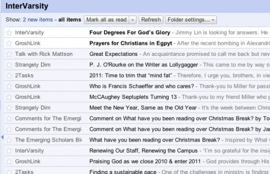 Google Reader - InterVarsity Folder