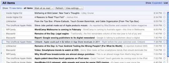 Google Reader List View