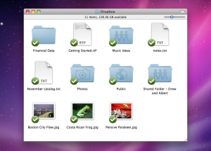 Screenshot of a Mac Dropbox folder all synchronized