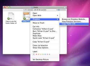 A screenshot of a Mac user copying a public link from Dropbox